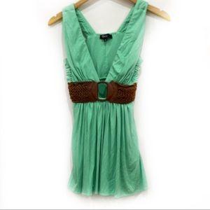Mint Green Leather Belt Sky Tank Top Shirt S EUC